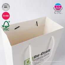 Vente chaude customl faible coût blanc sac en papier avec poignée
