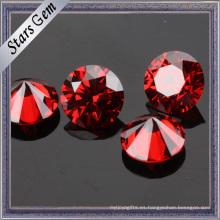 Wuzhou venta al por mayor hermoso granate rojo CZ piedra para la joyería