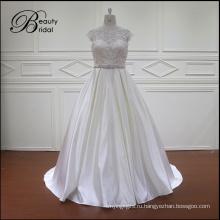 Все виды обычная Белая атласная свадебное платье