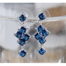 Fashion Cubic Zirconia Diamond Stud Silver Earrings