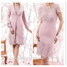 2017 Robe De Roiree Knee Length Pink Long Sleeve Lace Mother Of The Bride Dress MM852