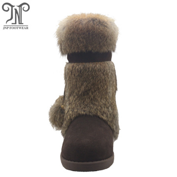 Women Lace up Pom-Poms Flat leather fuzzy Boots