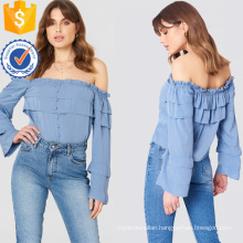 Blue Off-Shoulder Long Sleeve Layered Ruffled Summer Top Manufacture Wholesale Fashion Women Apparel (TA0087T)