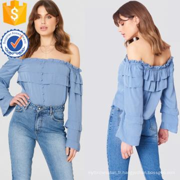Bleu épaule hors-épaule à manches longues en couches à volants été Top Fabrication de mode en gros femmes vêtements (TA0087T)