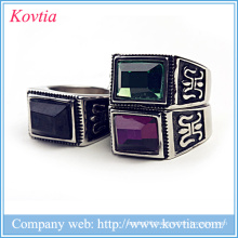 New model thailand jewelry there colors gemstone ring natural stone titanium ring