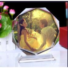 Hermoso marco de fotos de cristal para regalos de boda y recuerdos