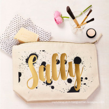 Gold Stamp Custom Logo Luxury Canvas Cosmetic Pouch Print Makeup Bag