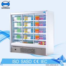 Expositor vertical com 4 portas de vidro para gabinete refrigerador