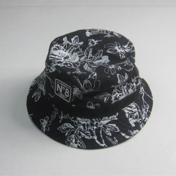 High Quality Black Print Bucket Hat