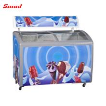 Congelador de cofre comercial de la puerta de cristal usado para el helado