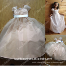 HF2154 Soft cap sleeve white organza gathered high waist fold sash A-line loor length cut beautiful scoop neck flower girl dress
