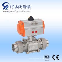Válvula de esfera de aço inoxidável 3PC com Atuador Pneumático