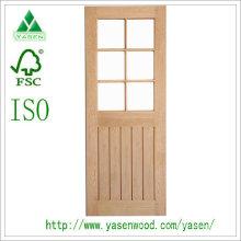 6 puerta de madera de roble rojo decorada con vidrio