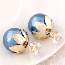 2016 fashion simple design earring double all types of earrings for cute girl