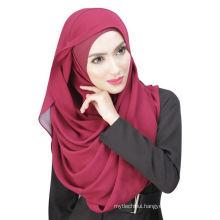 Summer cool Dubai solid color chiffon muslim hijab cap and scarf twinset