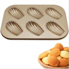 Molde para pastel antiadherente en forma de concha 6 piezas Madeleine