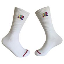 Media almohadilla de algodón de moda Logo Sport bordado calcetines (jmc12)