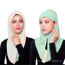 2017 brand fashionable wholesale colorful muslim scarf two-sided wear hijab cap