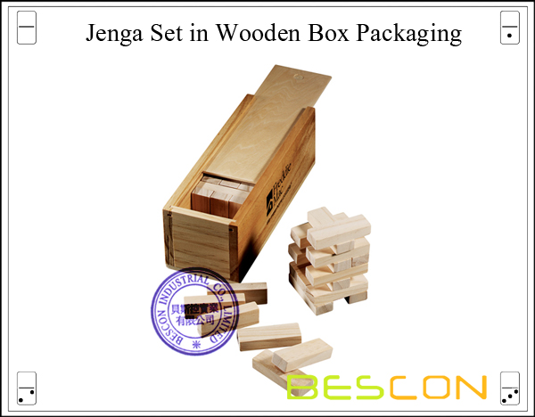 Jenga Set in Wooden Box Packaging