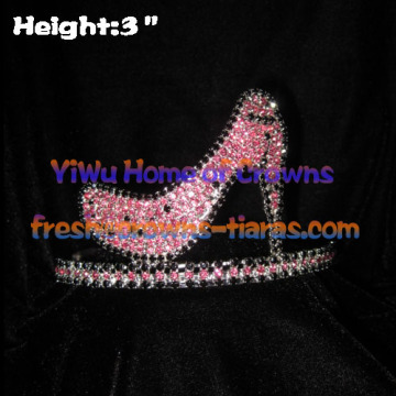3-Zoll-High Heel Crystal Strass Kronen