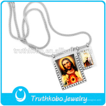 Dernier collier à longue chaîne en argent avec pendentifs Jusus Père et Mère Marie