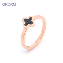 Stainless Steel Four Leaf Clover Ring Band Womens
