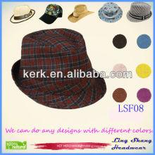 LSF08 Ningbo Lingshang 2014 Wholesale Short Brim Cotton Fedora custom bucket hat