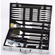 24pcs Premium Stainless Steel BBQ Set with Aluminum Storage Case - Perfect Heavy Duty Professional Outdoor Barbecue Grill Tool A