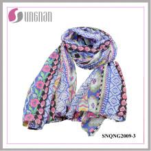 2015 Hot Fashion Ethnic Prints 100% Polyester Silk Scarf (SNQNG2009)