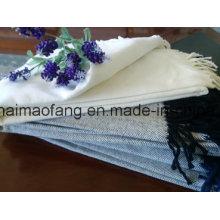 Woven Herringbone Pure Cotton Throw con borlas
