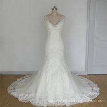 Los últimos vestidos de novia Alibaba Elegante pesado con cuentas de encaje blanco sirena vestidos de boda Vestidos de Novia con tapa manga LW253A