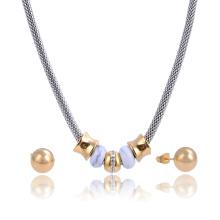 Cadena de la red de fantasía cadena cristal turquesa collar de perlas conjunto pendiente collar