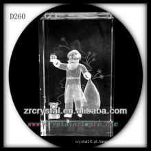K9 3D gravado presentes de Natal dentro de retângulo de cristal
