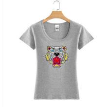 Tiger Logo Druck Mode Frauen Großhandel benutzerdefinierte Baumwolle T-Shirt
