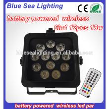 Wireless DMX LED Flat Par 12 Pcs 18w RGBAW UV 6in1 LED Battery par Light