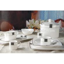 Forma cuadrada ecológica nuevo hueso China placa café conjunto