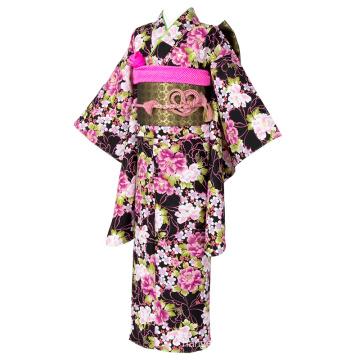 Polyester Flowers Pattern Two-foot Sleeve Black Kimono