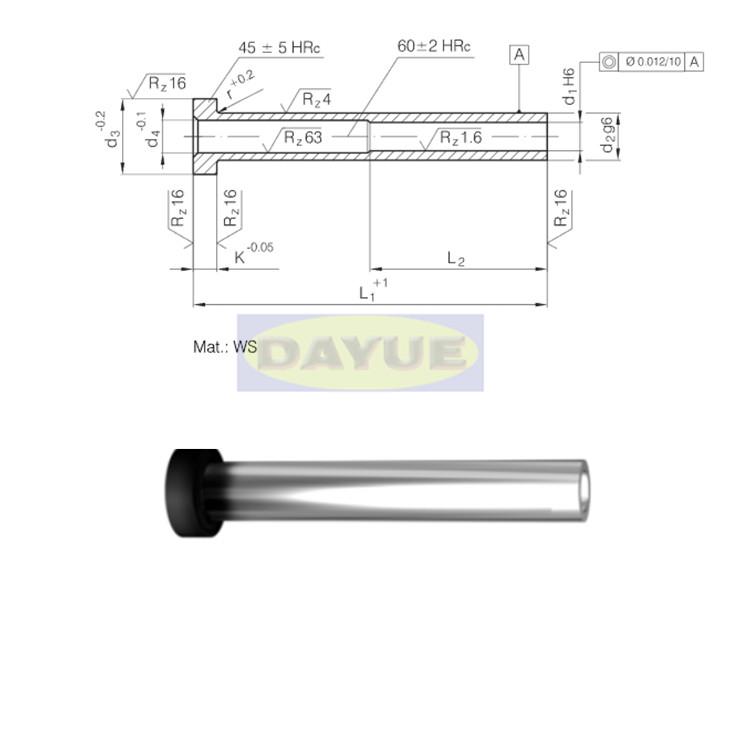 Ejector Pin Din Iso 8405 Din 16756 With A Cylindrical Head