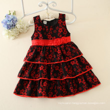 Plum flower pattern wholesaler price girls ruffle dresses of party for girls of 10 years kid party dresses