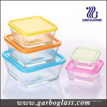 Ensemble de bol en verre carré 5PCS avec différentes tailles de couleur (GB1409)