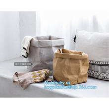 silver washable kraft paper fabric plant bag storage bag, eco-friendly washable kraft paper fabric plant bag storage bag