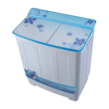 Blue Glass Cover Semi Automatic 8.5KG Twin Tub Mesin Cuci