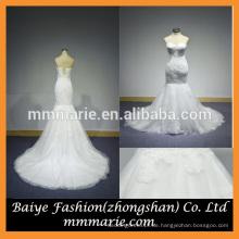 2016 Meerjungfrau Backless Stickerei Hochzeitskleid Perlen Top Sweep Zug Spitze Brautkleid Pattern