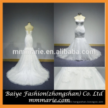 2016 Mermaid Backless Embroidery Wedding Gown Beading Top Sweep Train Lace Wedding Dress Pattern