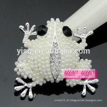 Luxo melhor venda moda pérola sapo broche de cristal strass