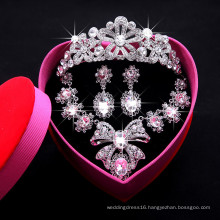Crystal Bow Shape Jewelry Sets For Wedding Party Bridal Use (Necklace+Earring+Crown) F29095 Necklace Sets