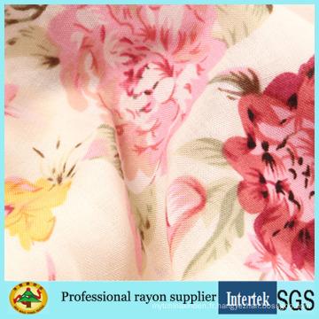 Tissu de rayonne de robe de dame sexy imprimée de fleur rose des années 60