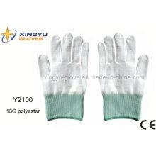 13G poliéster guante de trabajo de seguridad (Y2100)