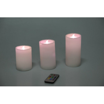 Batteridriven Ivory Real Wax Pillar LED-lampor