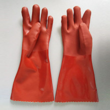Resina de PVC vermelha Acabamento liso Luvas de proteção 40cm